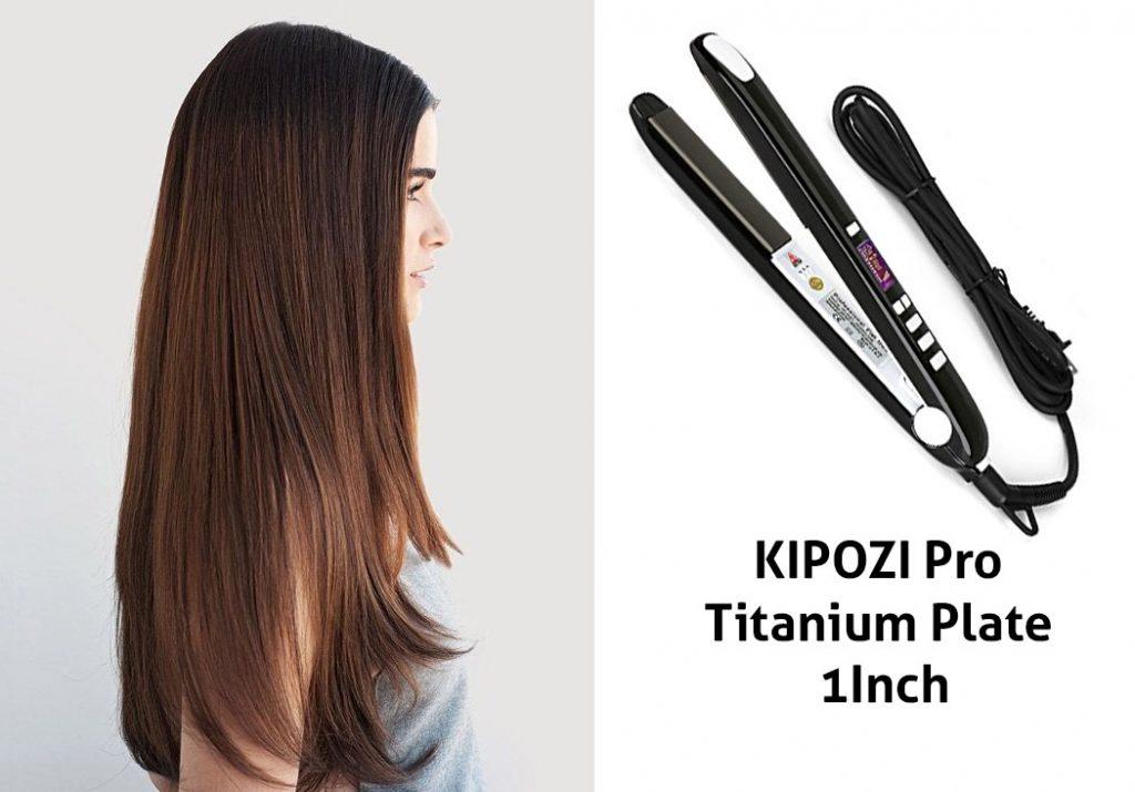 KIPOZI Pro Flat Iron with Titanium Plate 1Inch